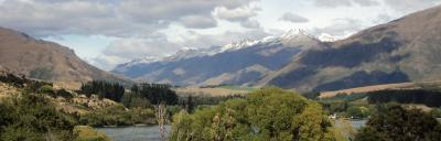Lake and snowy mountains